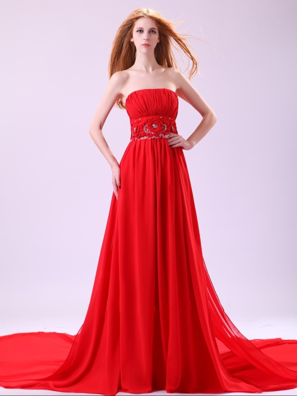 Chiffon Red 2013 Prom Dress