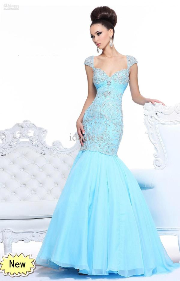 blue prom dresses mermaid
