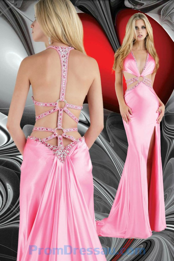 Empire Low V Neck Pink Beaded Halter Sweep Prom Dress