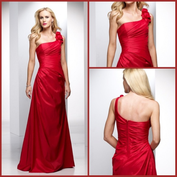 One Shoulder Taffeta-Red-Rose Long Mother of Bride Dresses 2013