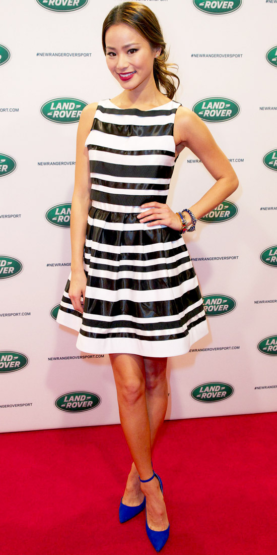 Jamie Chung, striped dress